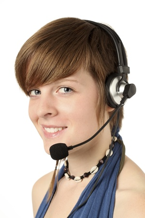 young woman with a headset smilling photo