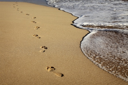 barfu�: Fu�abdr�cke auf einem sandigen Strand Lizenzfreie Bilder