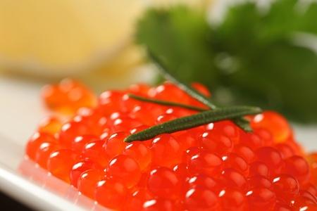 close up of red salmon caviar