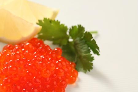 close-up van rode zalm kaviaar