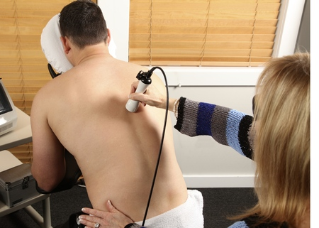 strength therapy: Laser physiotherapy Stock Photo