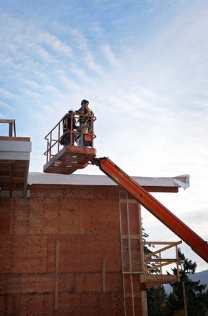 construction platform: Hydraulic platform at a construction site
