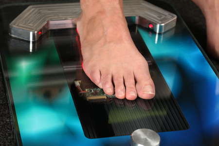 Foot on a 3D foot scanner for orthotics