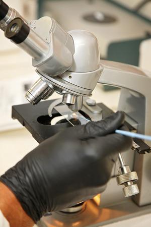 close-up van een hand het testen van een stof onder een microscoop Stockfoto