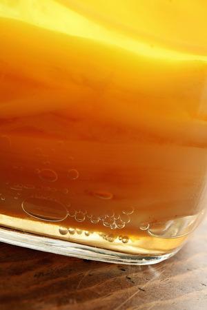 Close up of Kombucha in a jar