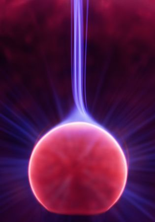 Plasma ray inside a plasma ball striking up from the core photo