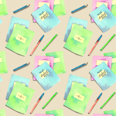 Seamless pattern made of watercolor painted school accessories on beige background.
