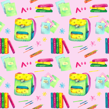 Seamless pattern made of watercolor painted school accessories on pink background. Imagens