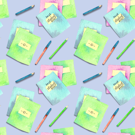 Seamless pattern made of watercolor painted school accessories on purple background.