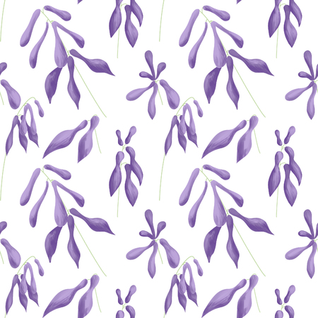 Seamless pattern of lilac flowers of hostas on a white background. Digital illustration.