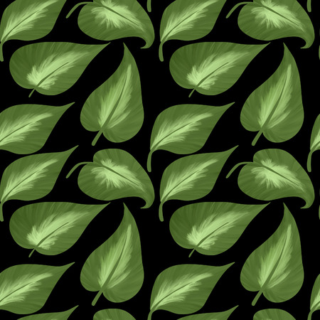 Seamless pattern of big leaves of hostas on a black background. Digital illustration.