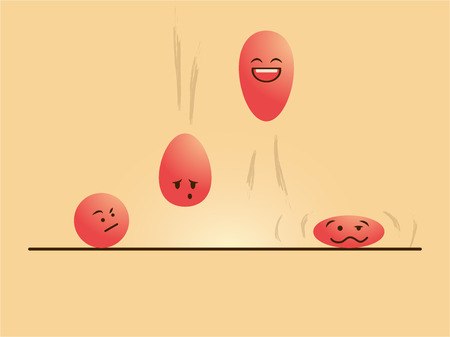 vector drawing of red color emotional cartoon balls jumping up and down Ilustrace