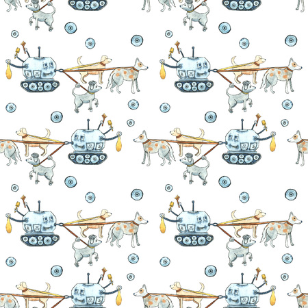 Seamless watercolor pattern with painted modern robots for pets. Gears, science, technology, gadgets for life 版權商用圖片