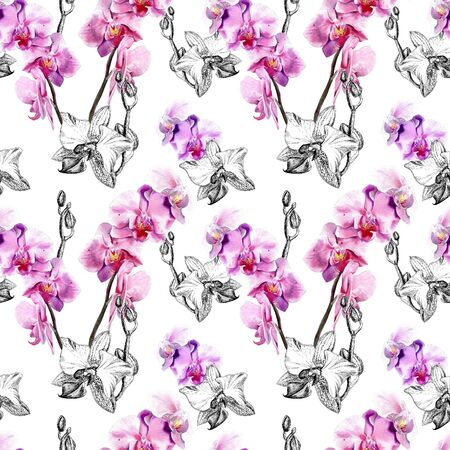 Motivo floreale senza soluzione di continuità con orchidee disegnate a mano su sfondo bianco