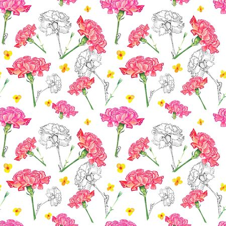 Carnation and buttercup flowers on white background, mixture of watercolor and ink graphics hand-drawn illustration, seamless pattern
