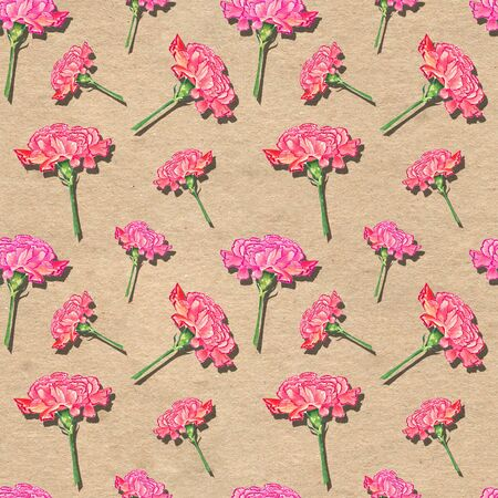 Carnation flowers with drop shadow effect on paper textured background, watercolor hand-drawn illustration, seamless pattern Stock Photo