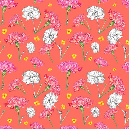Carnation and buttercup flowers on living coral background, mixture of watercolor and ink graphics hand-drawn illustration, seamless pattern Stock Photo