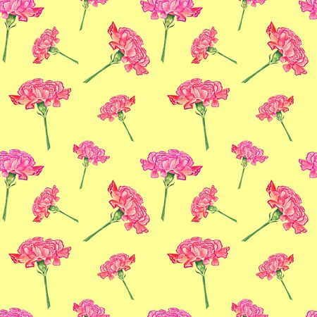 Carnation flowers on yellow background, watercolor hand-drawn illustration, seamless pattern