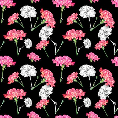 Carnation flowers on dark background, mixture of watercolor and ink graphics hand-drawn illustration, seamless pattern Stock Photo