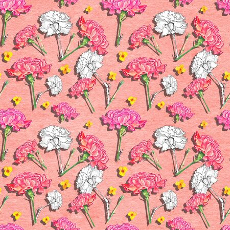 Carnation and buttercup flowers with drop shadow effect on paper textured living coral background, mixture of watercolor and ink graphics hand-drawn illustration, seamless pattern Stock Photo