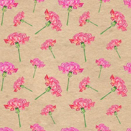 Carnation flowers on paper textured background, watercolor hand-drawn illustration, seamless pattern