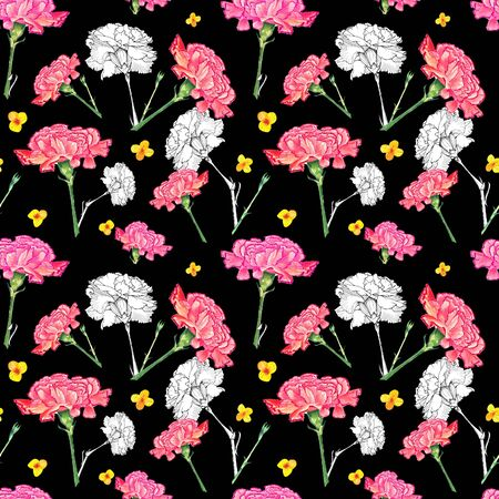 Carnation and buttercup flowers on dark background, mixture of watercolor and ink graphics hand-drawn illustration, seamless pattern