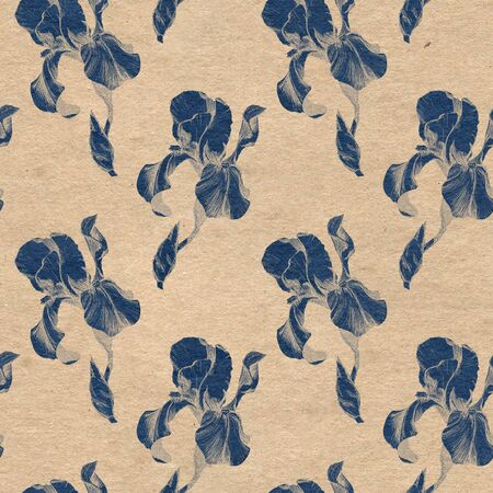 Floral seamless pattern with hand drawn ink iris flowers on paper textured background. Flowers lined up in harmonious geometric sequence