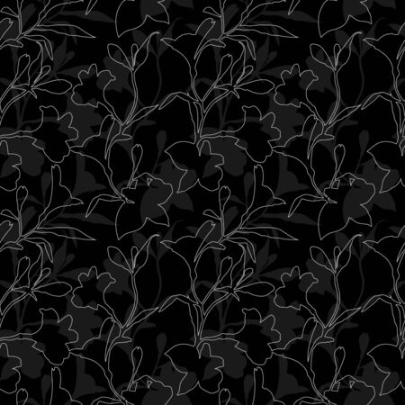 Seamless floral pattern. Black and white Pattern with Silhouette graphics flowers on black background. Alstroemeria. Seamless pattern with hand drawn plants. Herbal Botanical illustration. Reklamní fotografie
