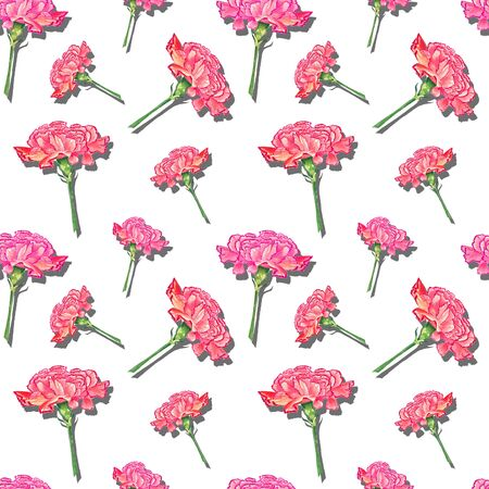 Carnation flowers with drop shadow effect on white background, watercolor hand-drawn illustration, seamless pattern