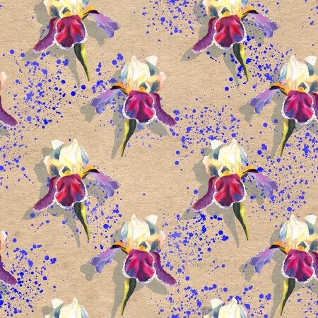 Floral seamless pattern with oil painted irises on craft paper textured background with bright blue splashes