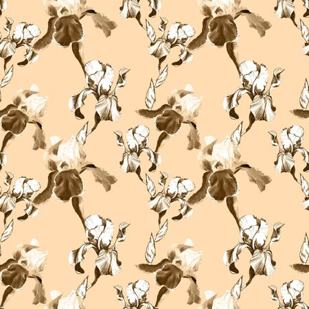 Floral seamless pattern with hand drawn ink iris flowers on peachy beige background. Flowers lined up in harmonious uninhibited sequence Фото со стока