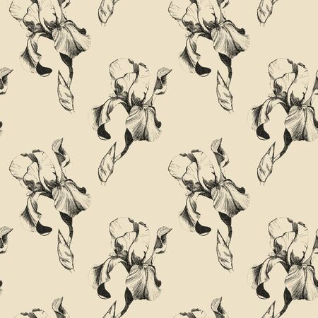 Floral seamless pattern with hand drawn ink iris flowers on beige background. Flowers lined up in harmonious geometric sequence Фото со стока