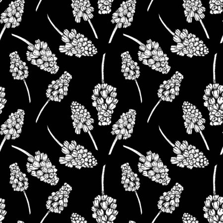 Seamless pattern with realistically painted ink Muscari flowers. Hand drawn illustration on black background modified to digital source for modern disign, print textile, fabric, wrapping paper