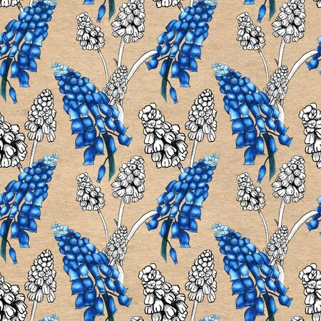 Seamless pattern with realistically painted watercolor and ink Muscari flowers. Hand drawn illustration on paper textured background for modern disign, print textile, fabric, wrapping paper 스톡 콘텐츠