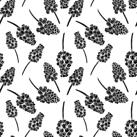 Seamless pattern with realistically painted ink Muscari flowers. Hand drawn illustration on white background modified to digital source for modern disign, print textile, fabric, wrapping paper 스톡 콘텐츠 - 131376746