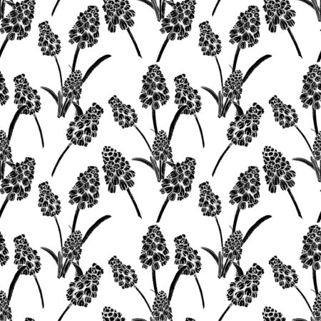 Seamless pattern with realistically painted ink Muscari flowers. Hand drawn illustration on white background modified to digital source for modern disign, print textile, fabric, wrapping paper.