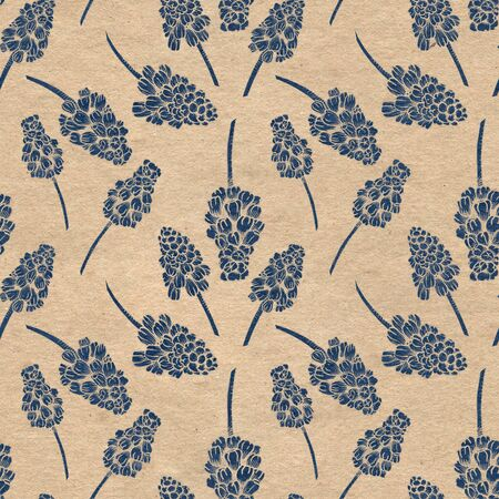 Seamless pattern with realistically painted ink Muscari flowers. Hand drawn illustration on paper textured background modified to digital source for modern disign, print textile, fabric. 스톡 콘텐츠