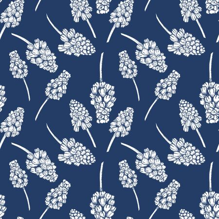 Seamless pattern with realistically painted ink Muscari flowers. Hand drawn illustration on blue background modified to digital source for modern disign, print textile, fabric, wrapping paper.