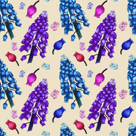 Seamless herbal pattern with watercolor colorful field flowers of muscari on beige background. Ornament of large branches and small buds