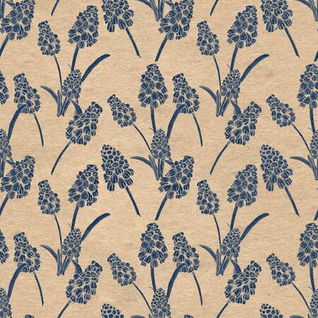 Seamless pattern with realistically painted ink Muscari flowers. Hand drawn illustration on paper textured background modified to digital source for modern disign, print textile, fabric