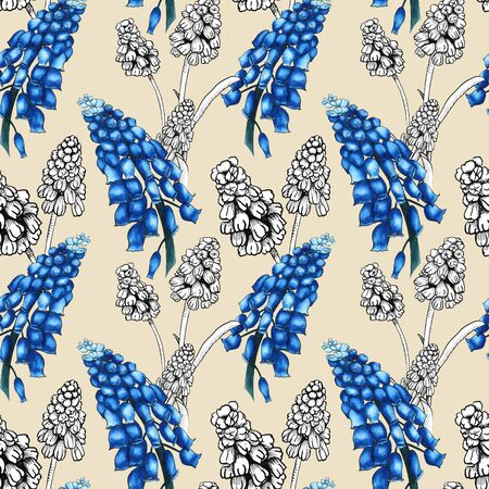 Seamless pattern with realistically painted watercolor and ink Muscari flowers. Hand drawn illustration on beige background for modern disign, print textile, fabric, wrapping paper 스톡 콘텐츠