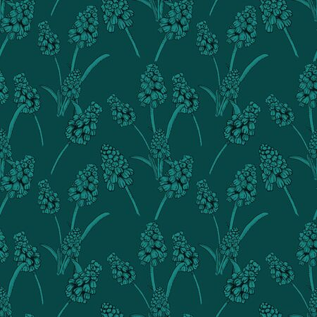 Seamless pattern with realistically painted ink Muscari flowers. Hand drawn illustration on dark green background modified to digital source for modern disign, print textile, fabric, wrapping paper
