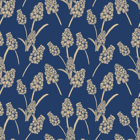 Seamless pattern with realistically painted ink Muscari flowers. Hand drawn illustration on blue background modified to digital source for modern disign, print textile, fabric, wrapping paper 스톡 콘텐츠 - 131376779