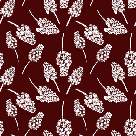 Seamless pattern with realistically painted ink Muscari flowers. Hand drawn illustration on burgundy background modified to digital source for modern disign, print textile, fabric, wrapping paper