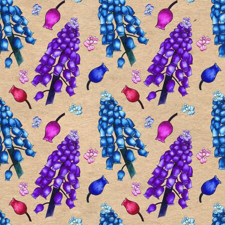 Seamless herbal pattern with watercolor colorful field flowers of muscari on craft paper textured background. Ornament of large branches and small buds Stock Photo