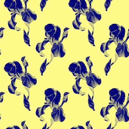 Floral seamless pattern with hand drawn blue ink iris flowers on yellow background. Flowers lined up in harmonious geometric sequence