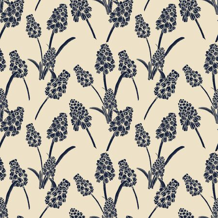Seamless pattern with realistically painted ink Muscari flowers. Hand drawn illustration on beige background modified to digital source for modern disign, print textile, fabric, wrapping paper 스톡 콘텐츠