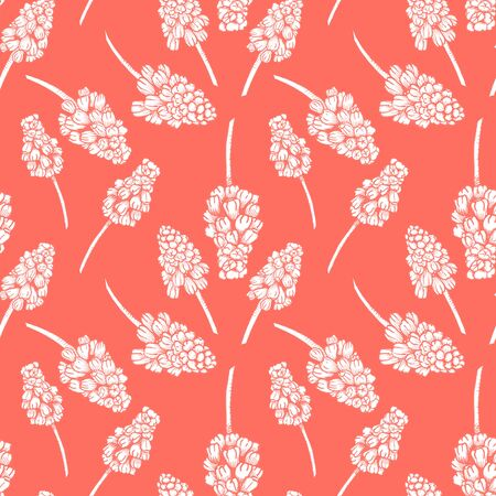 Seamless pattern with realistically painted ink Muscari flowers. Hand drawn illustration on living coral background modified to digital source for modern disign, print textile, fabric, wrapping paper