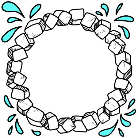 Frosty vector round wreath. Ice cubes create a ring shaped frame. Doodle elements, cartoon style, suitable for design and decoration