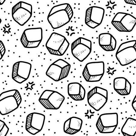 Frosty vector seamless pattern. Ice cubes are scattered all over the background. Doodle elements, cartoon style, suitable for design and decoration.